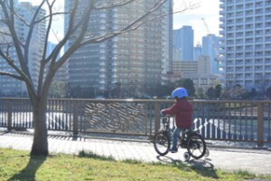 銀座付近で自転車の練習